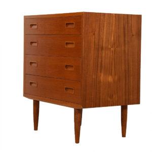 Danish Modern Compact Teak 4-Drawer Chest / Dresser
