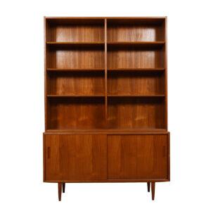 Danish Teak 2 Pc. Bookcase / Display Top w/  Sliding Door Cabinet