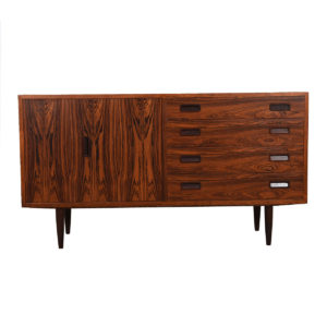 Danish Modern Rosewood 4 Drawer Media Cabinet w/ Bi-Fold Door