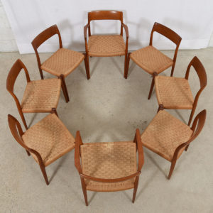 Set of 8 Teak & Papercord Niels O. Moller #75 Dining Chairs