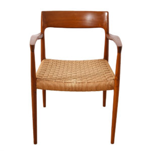 Set of 8 Teak & Papercord Niels Moller #75 / #56 Dining Chairs