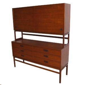 Rare 1950's Danish Teak Double-Decker Sideboard / Storage Cabinet