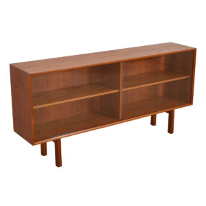 Danish Modern Teak Display Cabinet / Sideboard w/ Sliding Glass Doors