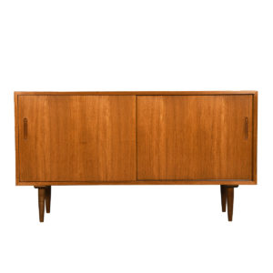 Compact Danish Modern Teak Sideboard w/ Protective Glass Top