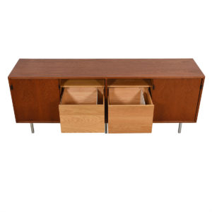 Florence Knoll Low Office Credenza / Sideboard w / Leather Pulls