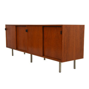 Early Florence Knoll Low Office / Filing Credenza w/ Leather Pulls