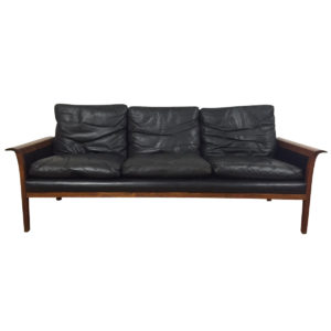 Hans Olsen Rosewood Black Leather Compact Sofa