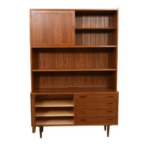 Stunning Danish Teak 2 Pc. Storage / Display Top w/ Bi-Fold Door Cabinet