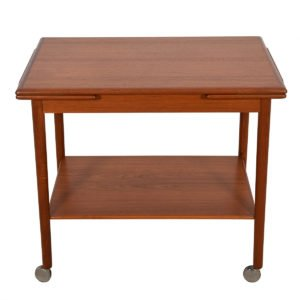 Danish Modern Teak Rolling Bar Cart w/ Leaves