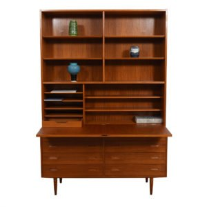 2-Piece Danish Teak Secretary / Display Cabinet