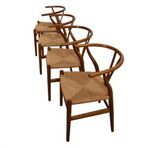 "Set of 4 Danish Modern ""Wishbone"" Dining Chairs by Hans Wegner for Carl Hansen"