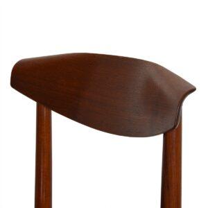 SELIG Set of 6 (2 Arm + 4 Side) Danish Teak Sculpted Back Dining Chairs