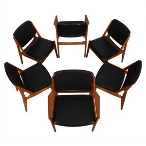 Set of 6 Arne Vodder Danish Teak Dining Chairs 2 Arm + 4 Side