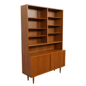 Danish Teak 2 Pc. Bookcase / Display Top Cabinet with Tambour Doors