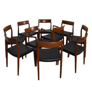 Set of 10 (2 Arm + 8 Side) Danish #77 Teak Niels Moller Dining Chairs