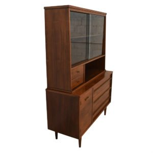 Mid Century Walnut 2-Pc. Display Cabinet w/ Glass Doors