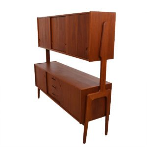 Danish Double-Decker Rare Teak Highboard / Serving Cabinet