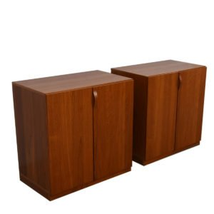 Pair Danish Modern 2 Pc. Teak Cabinets
