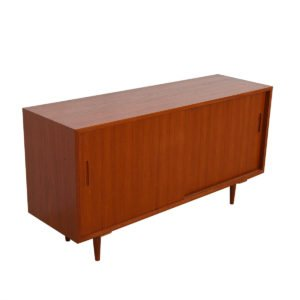 Danish Teak Sliding Door Media Cabinet / Credenza