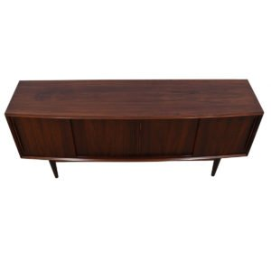 Out-Curved Danish Modern Rosewood Sliding Door Credenza