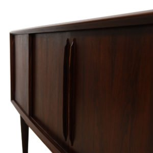 Out-Curved Danish Modern Rosewood Sliding Door Credenza