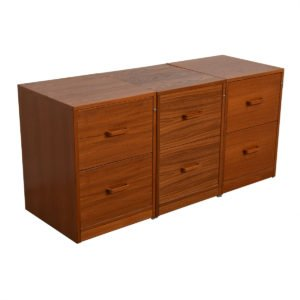 Three Matching Danish Modern Teak 2 Drawer File Cabinets