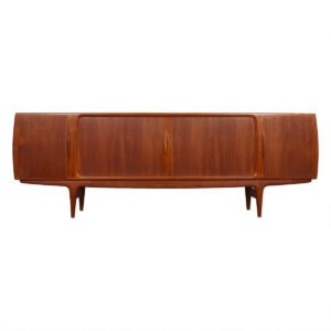 8 FT Johannes Andersen Danish Teak Sideboard with Tambour Doors
