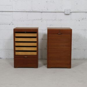 Pair, Small Danish Modern Tambour Door Filing Cabinets in Teak