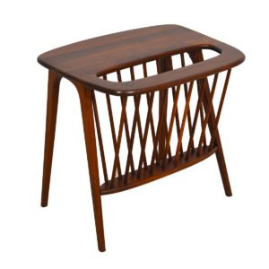 Arthur Umanoff Walnut Side Table with Magazine Rack