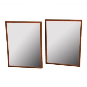 Pair of Matching Danish Modern Teak Mirrors by Vildbjerg