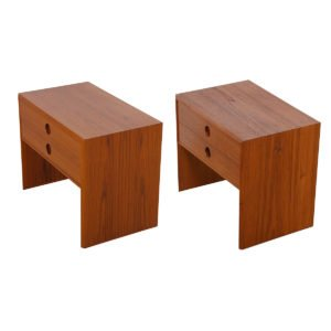 Pair, Danish Teak 2-Drawer Nightstands / Accent Tables by Kai Kristiansen