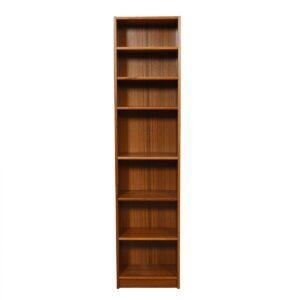 Tall Skinny Danish Modern Teak Adjustable Bookcase