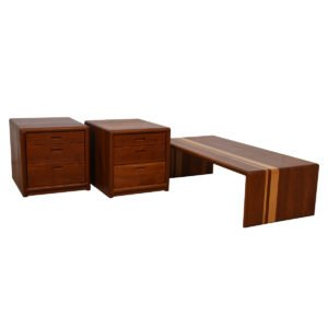Solid Teak Waterfall Coffee Table & Matching Side Table Cabinets