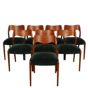 Set of 8 (Model #71) Niels Moller Danish Teak & Velvet Dining Chairs