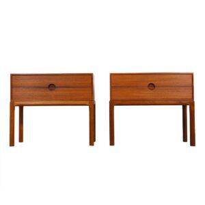 Petite Pair of Danish Teak Aksel Kjersgaard Nightstands / Side Tables