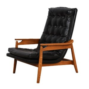 Sculpted Mid-Century Modern Tufted Lounge Chair & Ottoman