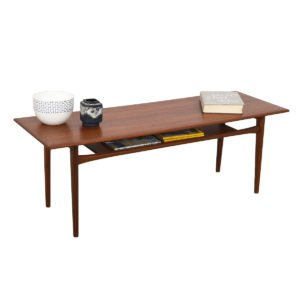 Rectangular Coffee Table w/ Shelf — Danish Modern Teak