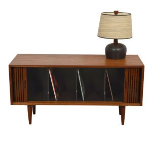 Mid Century Modern Walnut Record Cabinet w/ Tambour Doors