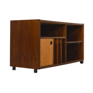 Danish Modern Rosewood Rolling Media Cabinet