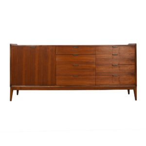 Mid-Century Modern Walnut Long Dresser in the Manner of Paul McCobb