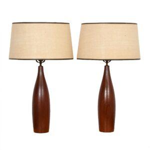 Pair of Teak Turned Table Lamps