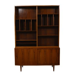 Danish Rosewood 2 Pc. Sliding Door Bookcase / Display Top Cabinet