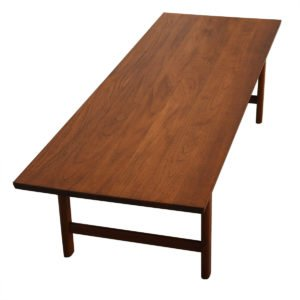 Solid Plank Teak Danish Modern Rectangular Coffee Table