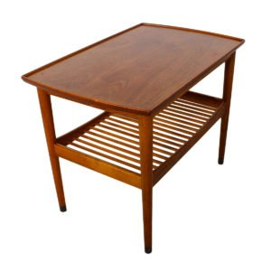 Swedish End Table in Walnut with Slatted Shelf by Dux
