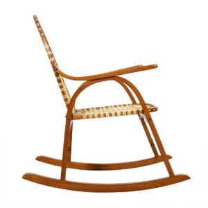 Vermont Tubbs Oak Snowshoe Rocking Chair w/ Rawhide Lacing