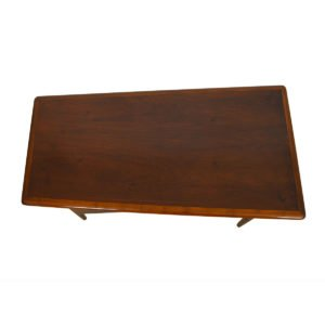 Trapezoidal Mid-Century Modern Walnut Banded Edge Desk