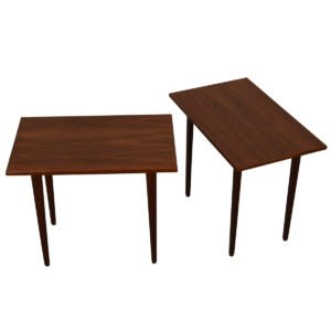 Tall Pair of Danish Modern Rectangle Teak End Tables