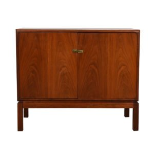 Compact Asian Inspired Walnut Cabinet w/ Brass Latch