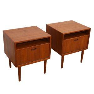 Pair of Danish Modern Teak Nightstands / Side Tables