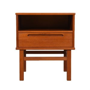 Pair of Danish Modern Teak Nightstands / Side Tables by Torring